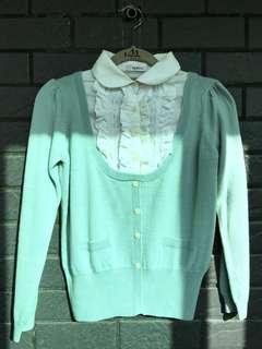 湖水綠。美麗諾羊毛襯衫領毛衣