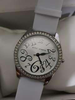 🚚 Betsey Johnson diamond bezel watch with white leather strap