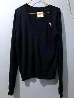 A&F v neck Sweater navy blue 冷衫