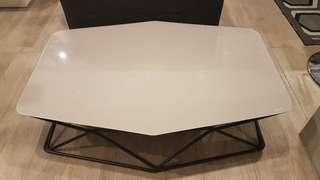 Modern greige geometric low coffee table, tempered glass top