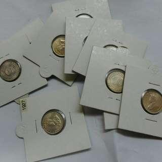 Straits Settlements 10 Cents 1927 Unc, $15 Each