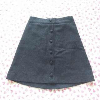 Grey wool A-line skirt