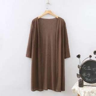 Long Cardigan Coffee Color 3XL