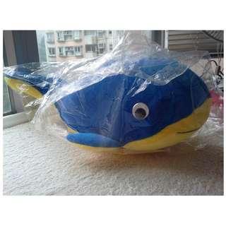 Blue Yellow Stuffed Dolphin Doll x 2