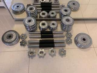 Kettle barbell set of four bars and multiple weights