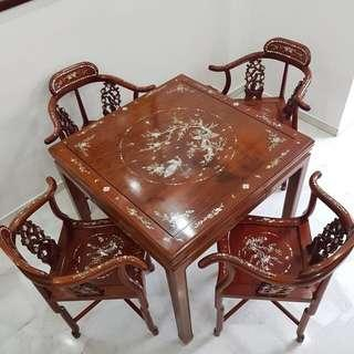 Rosewood mahjong table set