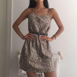 Silky Leopard Print Slip Dress