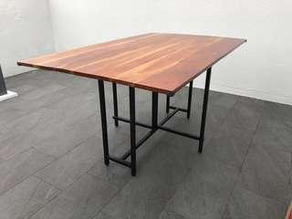 Crate and Barrel drop leaf rectangular dining table
