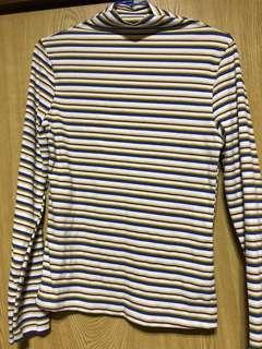 🚚 小高領橫條紋針織長袖上衣