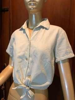 American Apparel Shirt Kemeja Crop Top Denim Muda