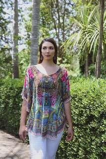 REDUCED FROM $50!!! $30 hand-made chiffon rhinestone kaftan blouse FREE SIZE