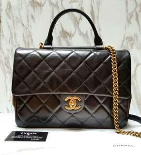 [100% AUTH] CHANEL Gold Bar Flap Bag with Top Handle