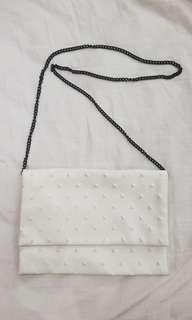 White Stud-Textured Sling Bag #mfeb20