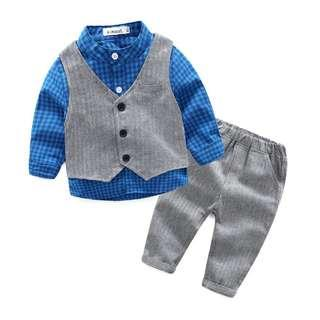 Baby Boy Clothes Gentleman 3pieces/Set Party Long Sleeve Blue Clothing Set