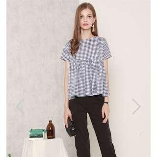 ACW Babydoll Sleeved Top In Gingham