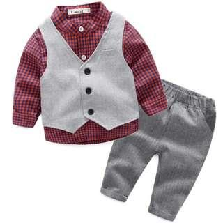 Baby Boy Clothes Gentleman 3pieces/Set Party Long Sleeve Red Clothing Set