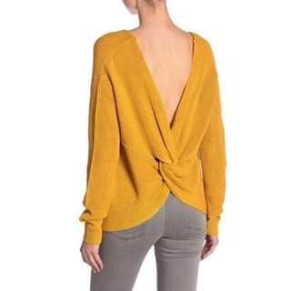 NWT Nordstrom Mustard Open Back Sweater