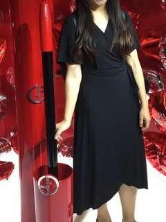 Super Black Wrap Long Dress
