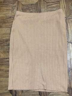 F21 brown pencil skirt