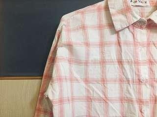 🚚 粉紅格紋襯衫