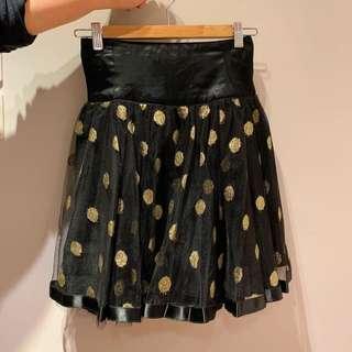 閃閃金色波點紗裙