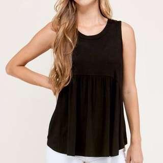 🚚 Uniqlo Sleeveless Black Babydoll Camisole Top with Inner Bra #MakeSpaceForLove
