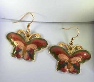 搪瓷繪圖吊飾耳環 Dangle earrings butterfly