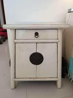 Antique Chinese Cream Side Table/cabinet