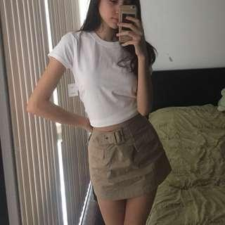 UO tan Belted mini skirt