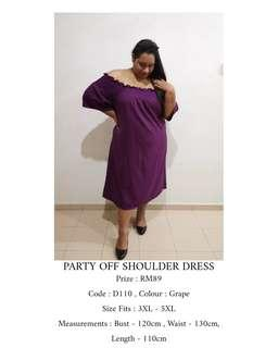 Plus Size Off Shoulder Party Dress ( READY STOCK)