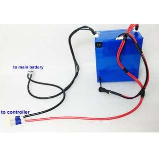 Booster battery by pass 12V lithium battery pack for Electric bike ebike, electric scooter escooter…..