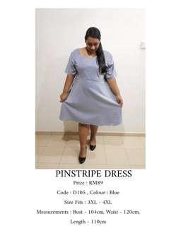 READY STOCK Plus Size Baby Blue Pinstripe Dress