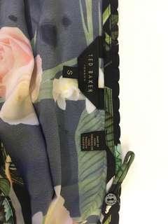 Ted Baker limiter eiditon black green rose leaves strap top