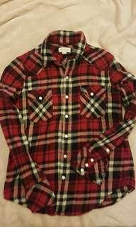 XS TNA aritzia plaid shirt