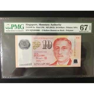 """LUCKY number 688888"" PMG rated 67  Singapore Portrait Notes $10"