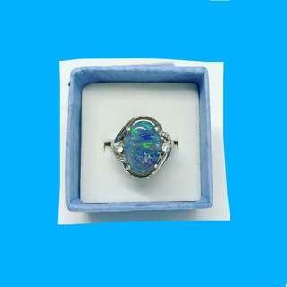 🐟925 SILVER BOULDER OPAL RING 925 鈍銀蛋白石鋯石戒指;