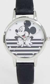 Disney mickey mouse stripe watch in black/white