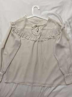 Earth Music and Ecology Japan chiffon white top