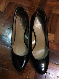 Black patent leather heels