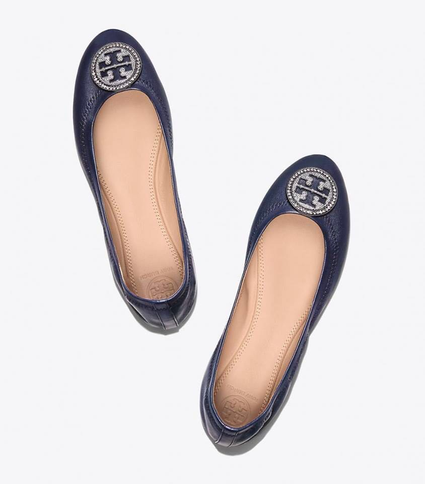 7fea1c55a892 Authentic Tory Burch Liana Ballet Flats in Navy Red