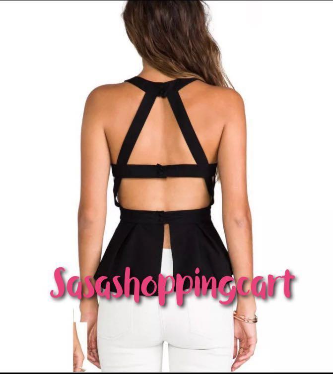 (Black) Sexy backless tank tops girl sleeveless vest women shirts