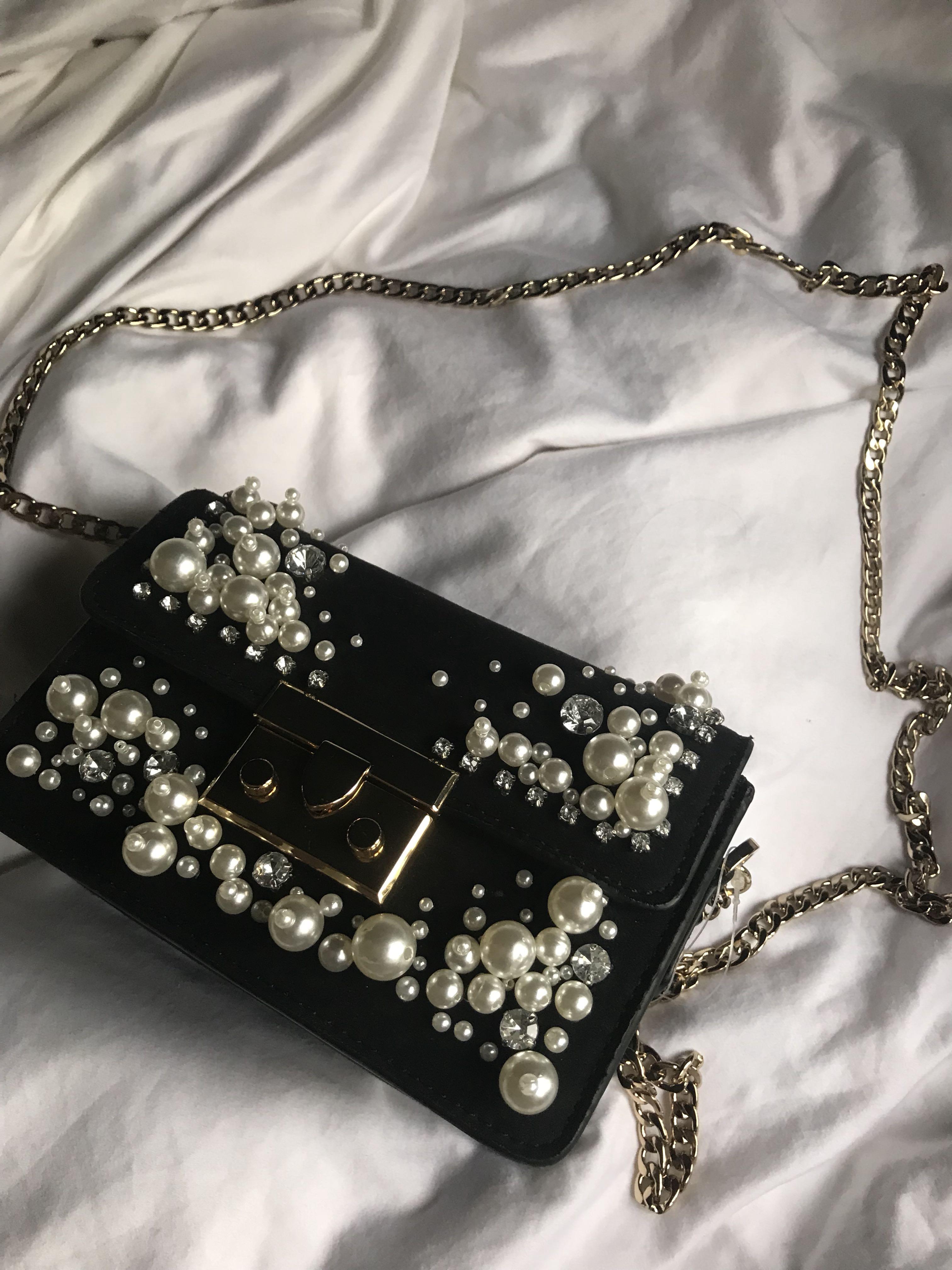 2d612abc536cf BNWT Pearl Studded Black Velvet Sling Bag / Clutch