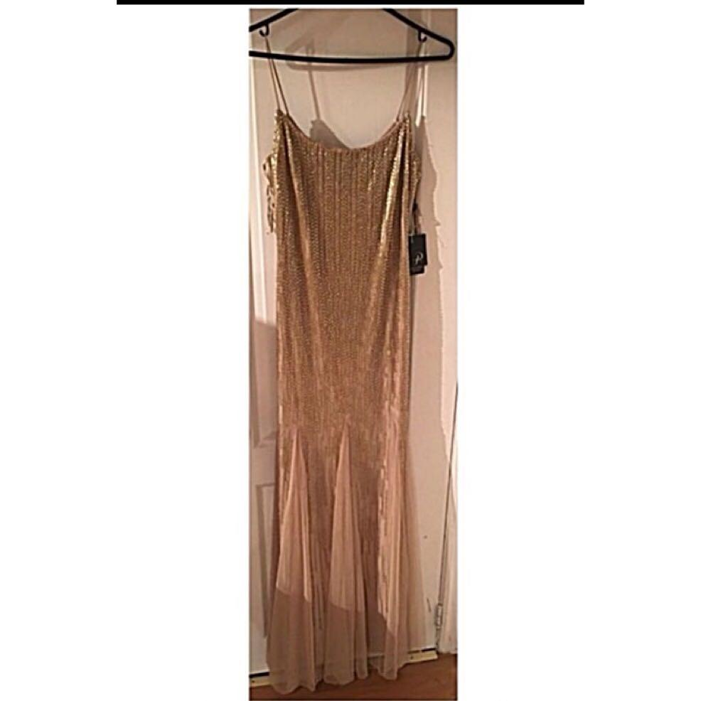 Brand new Adrianna Papell beaded mesh trumpet gown