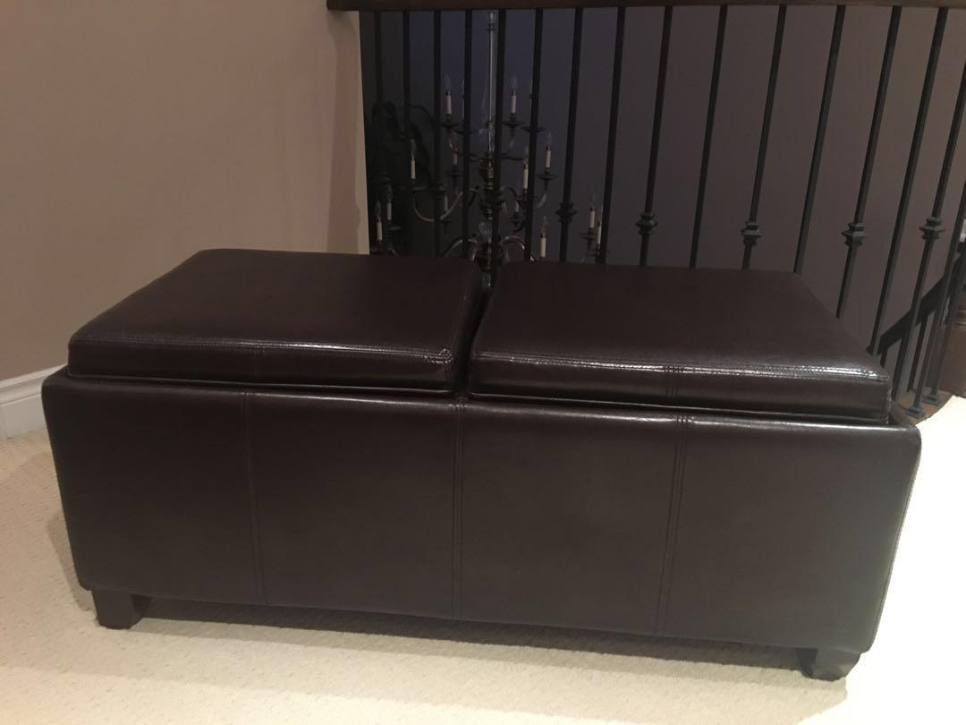 Brown Ottoman - Couch with trays and inner storage area