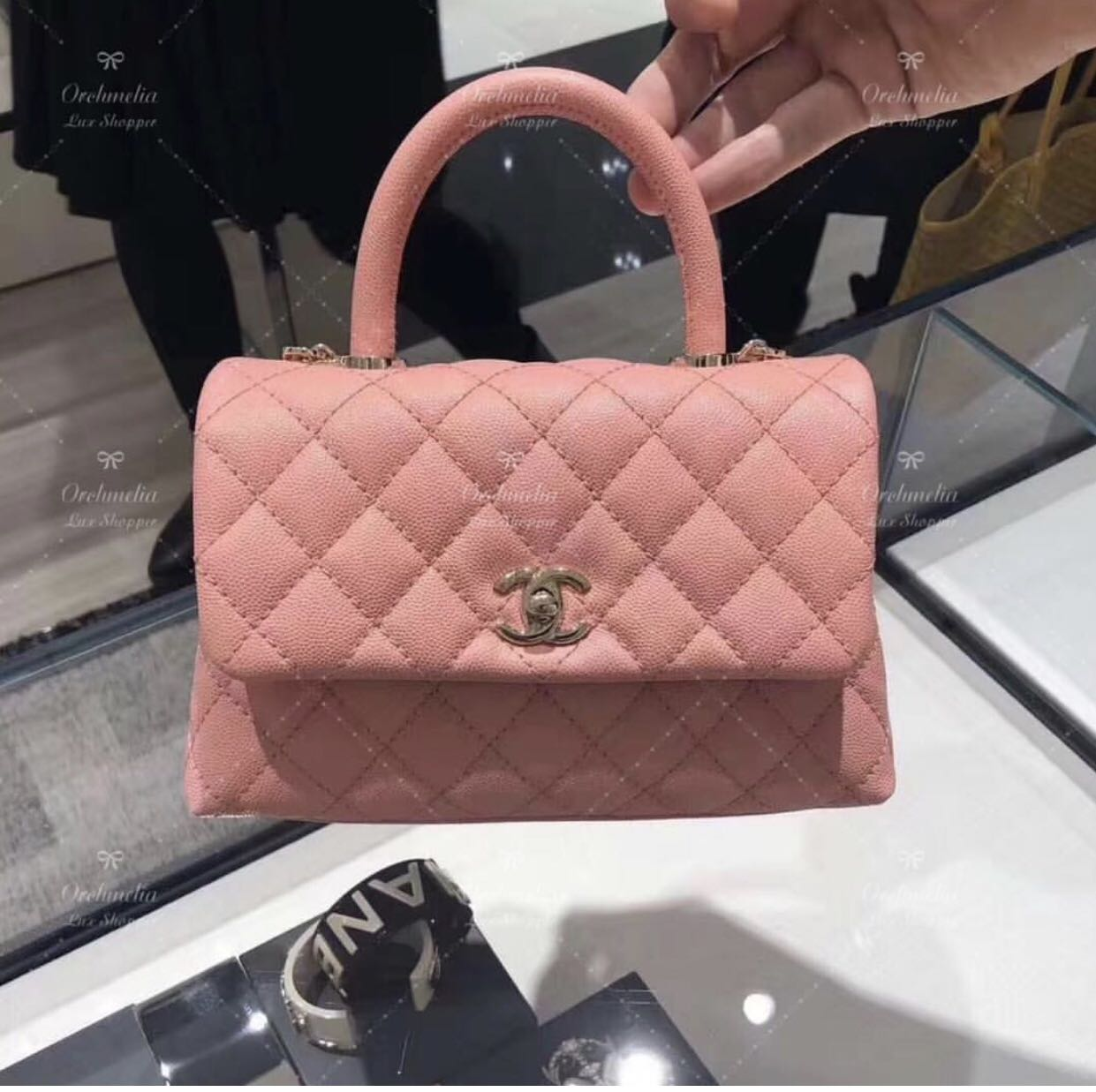 0e0f687b95ea2a Chanel Coco Handle mini Bag in salmon Pink LGHW 19P, Luxury, Bags ...