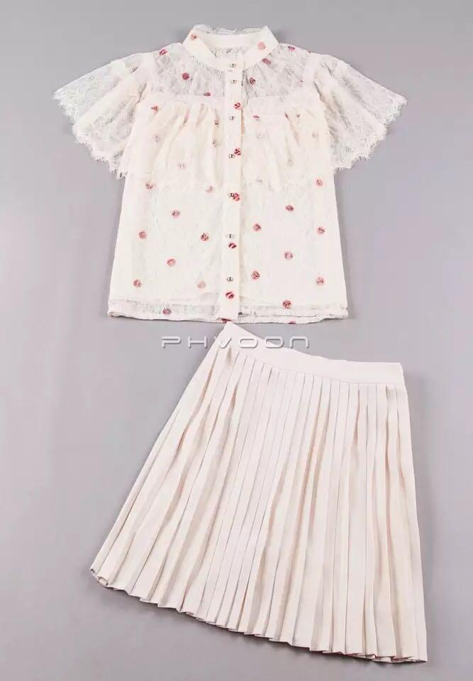Cute white lace set with red dots including the top and skirt