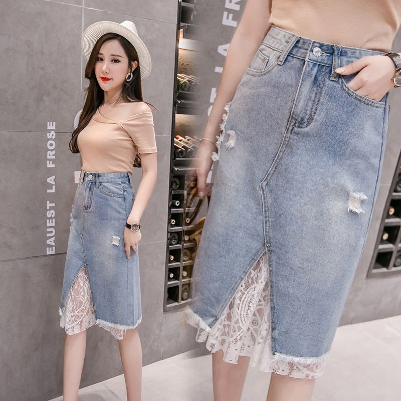 aa539f0eb8 Denim Blue Coloured Floral Lace Trim Ripped Skirt, Women's Fashion ...