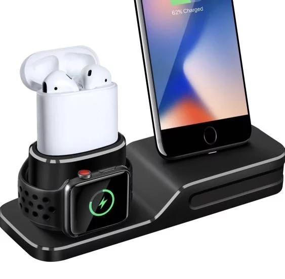 wholesale dealer 6b612 a8f5e (E544) Charging Stand Compatible with Apple Watch, 3 in 1 Charging Station  Silicone Compatible with Apple Watch Series 1/2/3/4, Airpods, iPhone Xs/Xs  ...