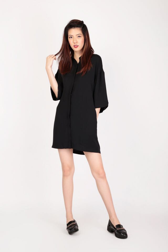 1c1fb83cd81fe0 EASE DOWN THE ROAD SHIRT DRESS IN BLACK, Women's Fashion, Clothes ...