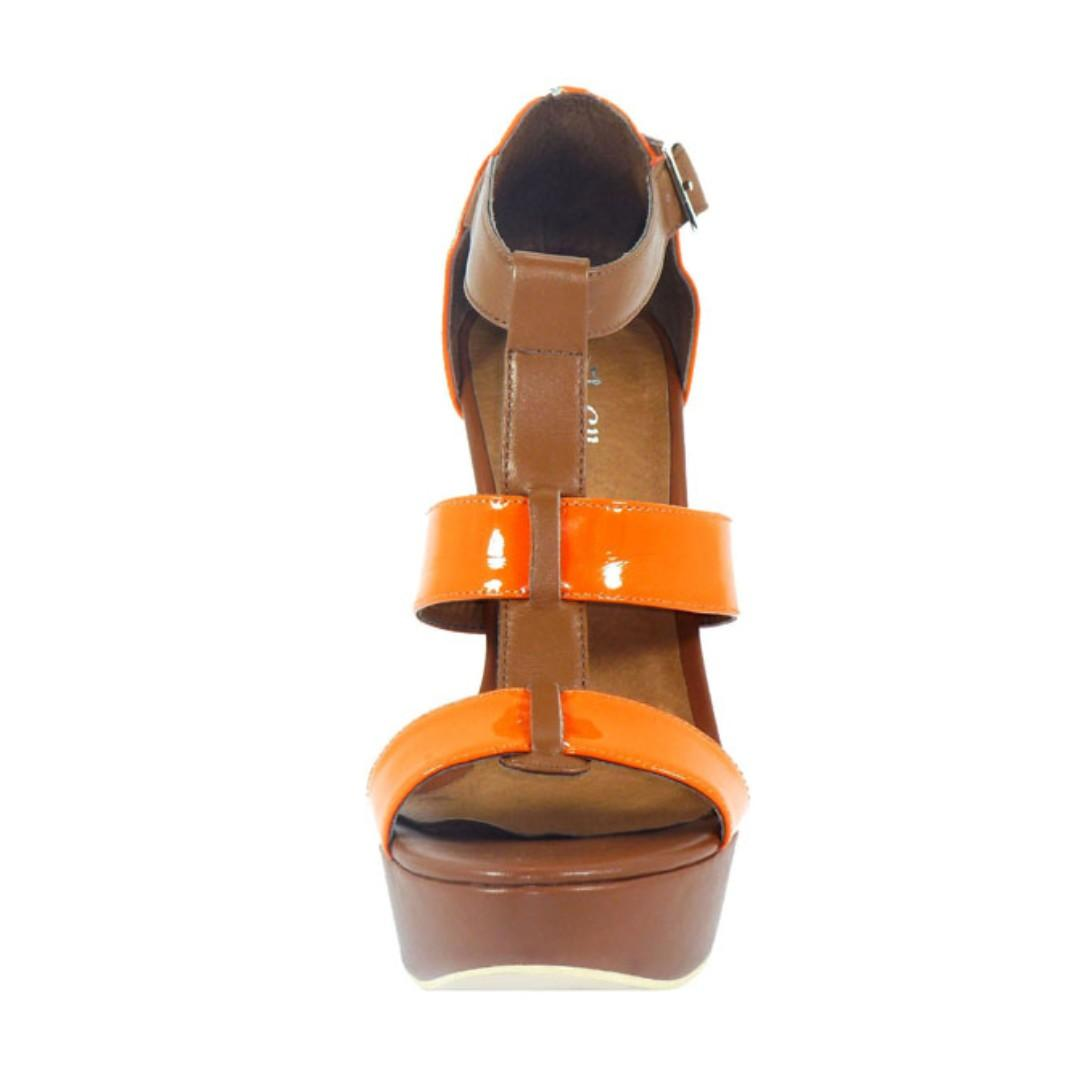 Elle Tan + Orange 100% Leather platform heels- BRAND NEW IN BOX